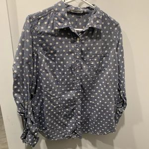 Long-Sleeve Polka Dot Button Up